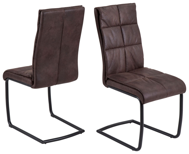 2x Freischwinger Stuhl Stuhle Kuchen Stuhl Microfaser Braun Schwingstuhle Neu Toysstore